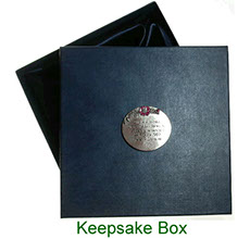 Keepsake box with inscribed pewter plaque