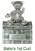 Tiny Treasures Baby's 1st Curl treasure chest in pewter