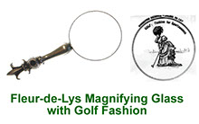 Fleur-de-Lys magnifying glass in pewter with peep