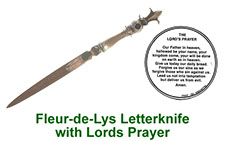 Fleur-de-Lys letter knife in pewter with peep