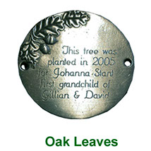 Oak Leaves motif Garden Plaque in pewter with inscription