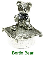 Tiny Treasures Bertie Bear collectable box in pewter