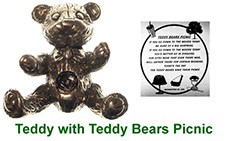 Miniature Teddy collectable with peep in pewter