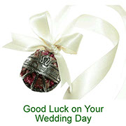 Good Luck on your Wedding Day pewter pomander with pot pourri